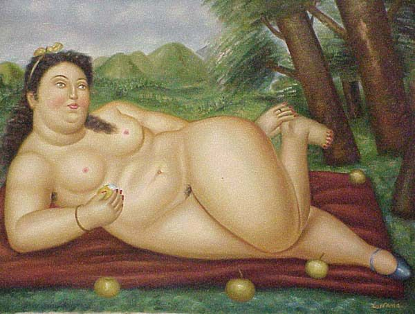 "Fernando Botero, ""Colombiana,"" 1986, oil on canvas, Botero Museum, Bogota, Columbia."