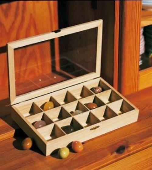 Aufbewahrungsbox aus Holz, Sammlerbox, Setzkasten Holz, Edelsteine 15 Fächer