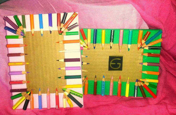 Portafoto creato con cartone e pastelli  Photo frame created with cardboard and pastels