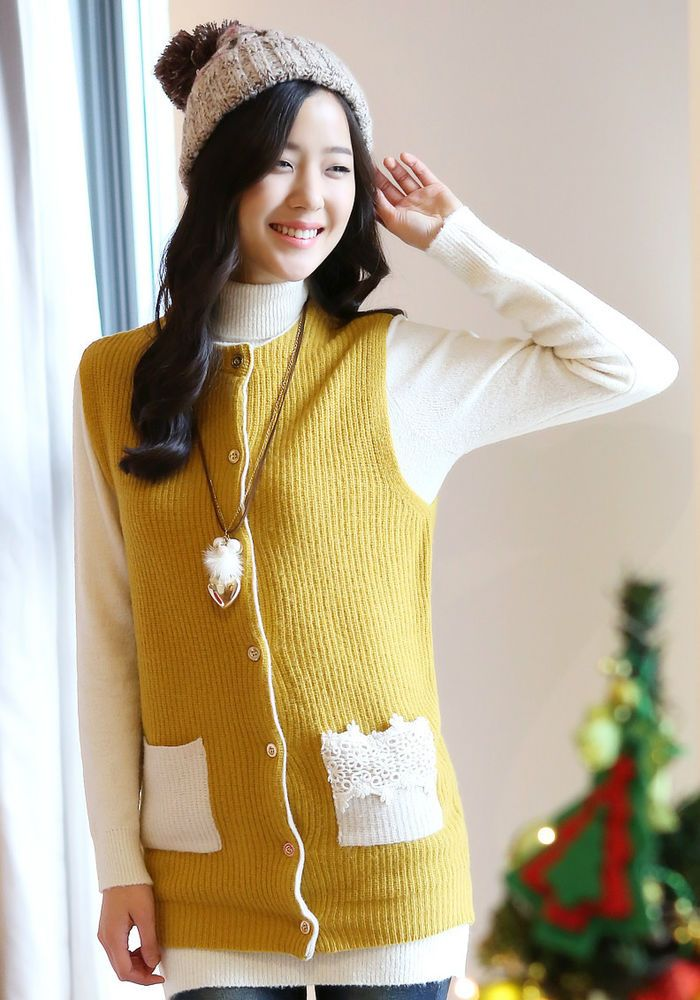 StyleOnMe_Womens Soft&Warm Wool Knit Vest_Lace pocket point_Mustard_Career_Korea #StyleOnMe #Styleonme #BlackFriday #Knit #Sweater www.styleonme.com www.facebook.com/StyleonmeEn