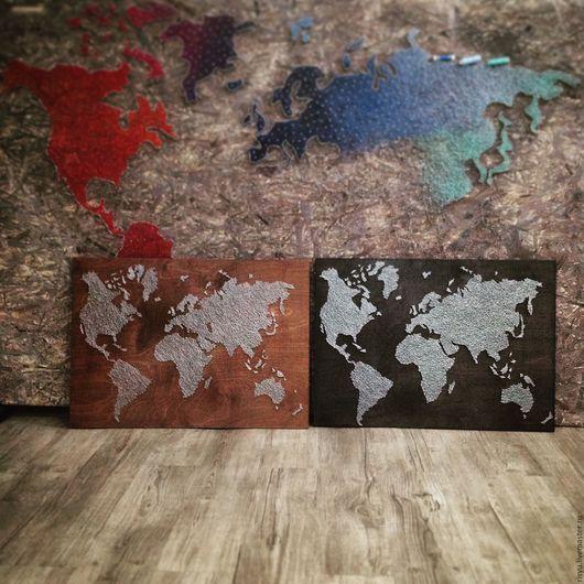 Картины цветов ручной работы. Ярмарка Мастеров - ручная работа. Купить карта мира  в стиле стринг арт. Handmade. Серебряный