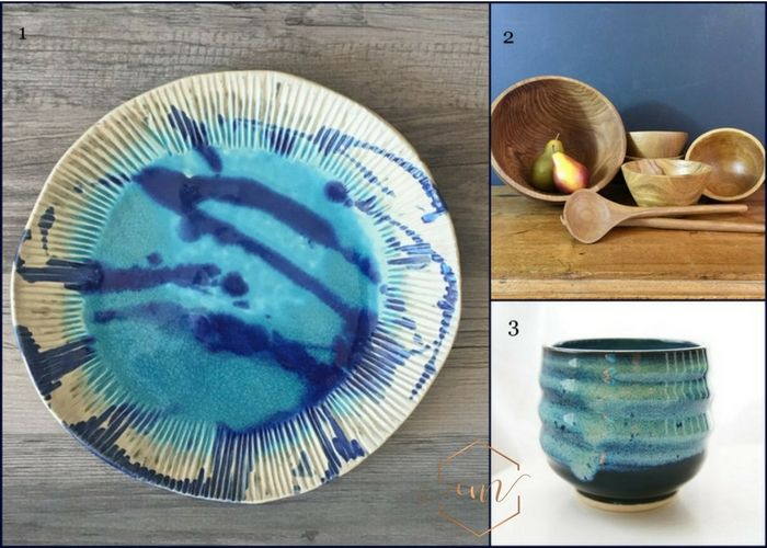 Mamma Mia inspiration- blue and white ceramice, blue pottery, wooden salad bowl set