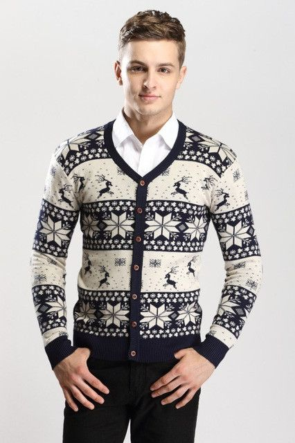 2016 New Men's Christmas Cardigan Sweater Knitted Sweater Jacket For Men Sweter Sueter Hombre Rebeca Pull Homme.CB07