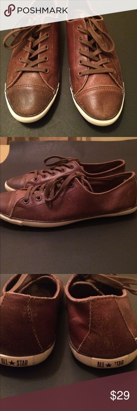 Leather converse shoes Leather converse shoes , wear 2 times , new condition , size 9 , brown color , bungle to save for shipping Converse Shoes
