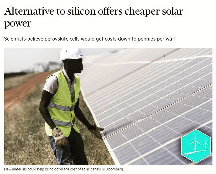 Researchers believe that in coming years solar power could become even more efficient and cheaper than it is now. While most solar cells today are made from silicon a key area to watch is the development of new materials for solar cells. One of the most promising of these is a family of crystals known as perovskites. Certain perovskites are very good at absorbing light and have been shown to have a power conversion efficiency of 22 per cent on par with traditional silicon cells.