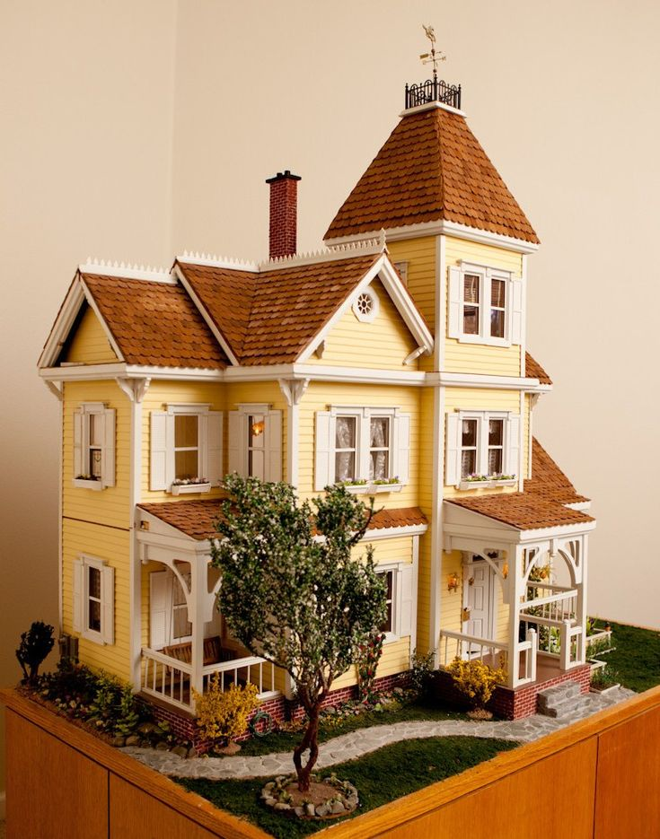 Yellow Victorian doll house