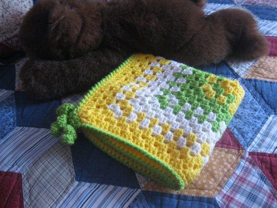 Granny Square Lovey Baby BlanketLemon Lime twist by lauralee19, $20.00