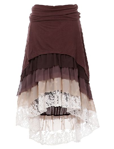 Put Your Big Girl Boot On Brown Vintage Lace Skirt
