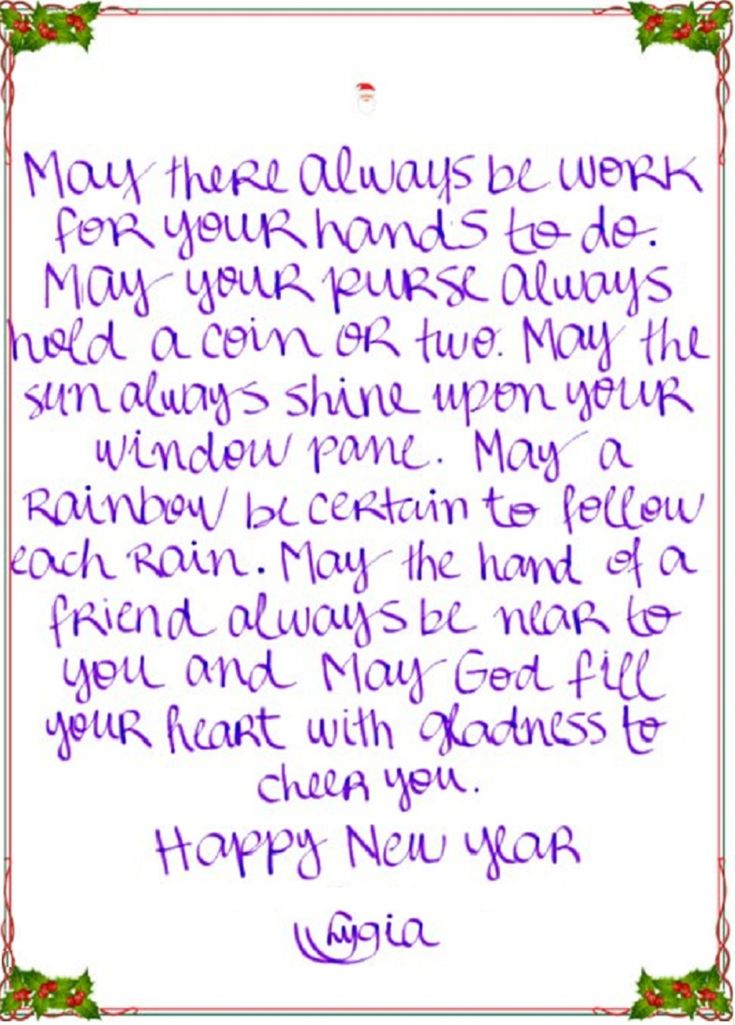 27 de dezembro de 2010 Celtic Prayer - Message In My Handwriting May there always be work for your hands to do. May your purse always hold a coin or two. May the sun always shine upon your window pane. May a rainbow be certain to follow each rain. May the hand of a friend always be near to you and may God fill your heart with gladness to cheer you.  P A T C H W O R K *d a s* I D E I A S