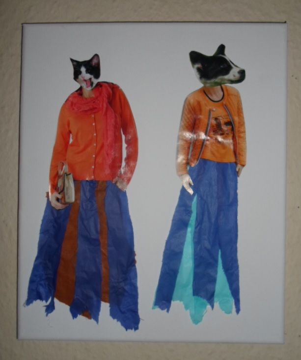 Women with animal heads collage. Their skirts are made out of tissue paper.