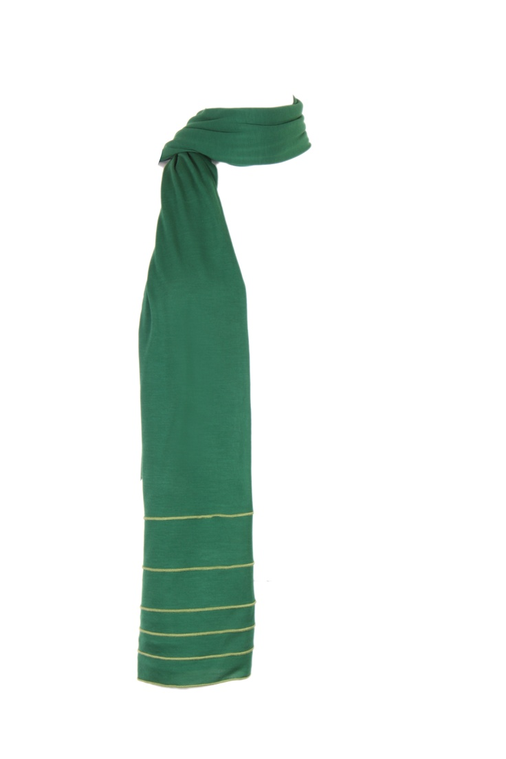 Solid Green Jersey Dupatta Embellished With Babyoverlock Details In Contrast Thread On All Side; 2.25M In Length In 100% Viscose #Fashion #Style #Colors #Drapes #W for #Woman