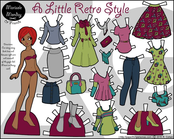 A contemporary printable paper doll of a young black woman with a 17 piece wardrobe. Free to print from PaperThinPersonas.com