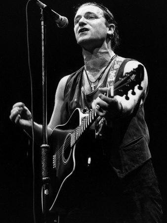 U2 Irish Pop Singer Bono Playing Guitar and Singing at Wembley Arena, 1987
