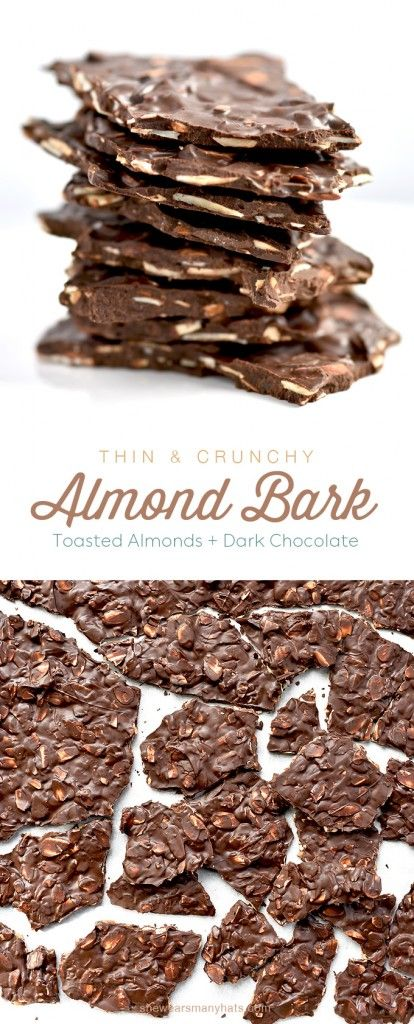 This super thin Dark Chocolate Toasted Almond Bark is so easy to make and perfect for sharing! | shewearsmanyhats.com #chocolate #bark #almond