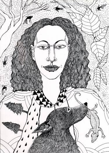 "Saatchi Art Artist Sonal Panse; Drawing, ""Girl With Dog And Lizard"" #art #drawing #penandink #sonalpanse #maysuninc"