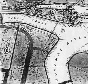 The outline of Fort Cumberland can be seen along the left edge of this map