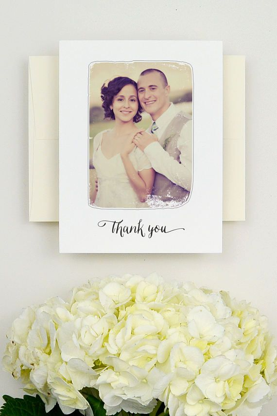 personalized wedding thank you notes%0A The Framework wedding thank you card by Hello  June features your photo  placed inside a rustic grunge border with   Thank You   typeset in a hand  lettered