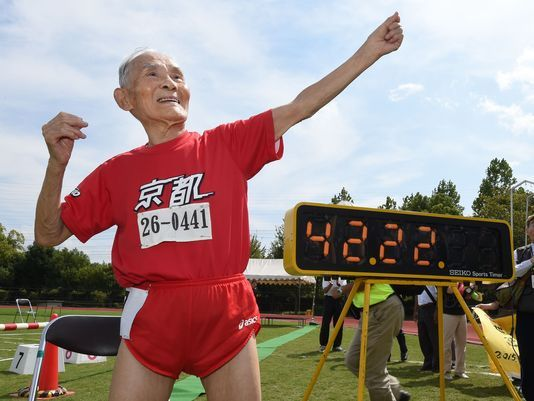105-year-old Japanese man broke his record for the oldest competitive sprinter on Wednesday at a competition in Kyoto, Japan.  Hidekichi Miyazaki finished a 100-meter sprint in just 42.22 seconds at the Kyoto Masters Athletics Autumn Competition,