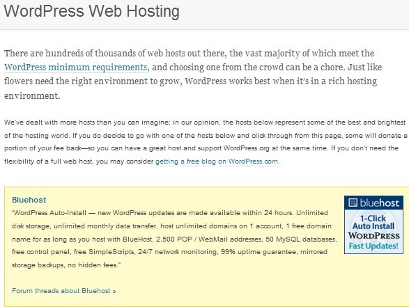 best blog web hosting recommended by WordPress official