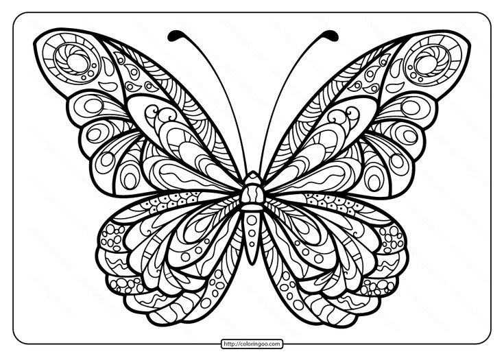 Printable Butterfly Mandala PDF Coloring Pages 41 ...