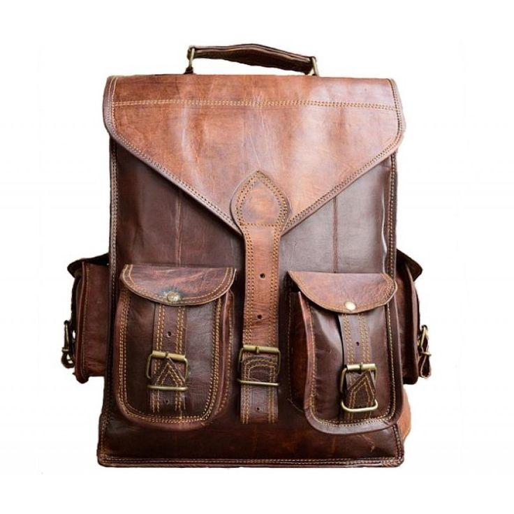 "PLH02 VINTAGE YORK™ Leather backpack / briefcase 2in1. Handmade 14"""