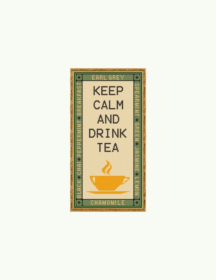Keep Calm and Drink Tea Cross Stitch Pattern by StitcherzStudio on Etsy