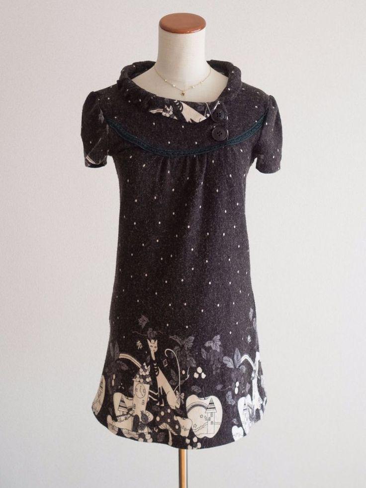 🐱Saika🐱Cat💞Heart💞Cute Knit Tunic Dress Japan Size M Romantic Lolita Hime Gal #JillStuart #ALineDressTunic #Shibuya109Lolitafashion