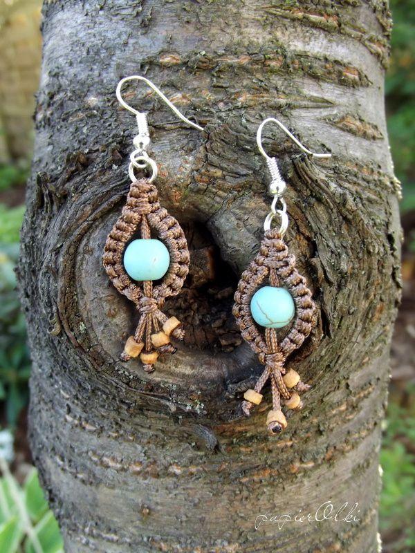 macrame earrings, makramowe kolczyki