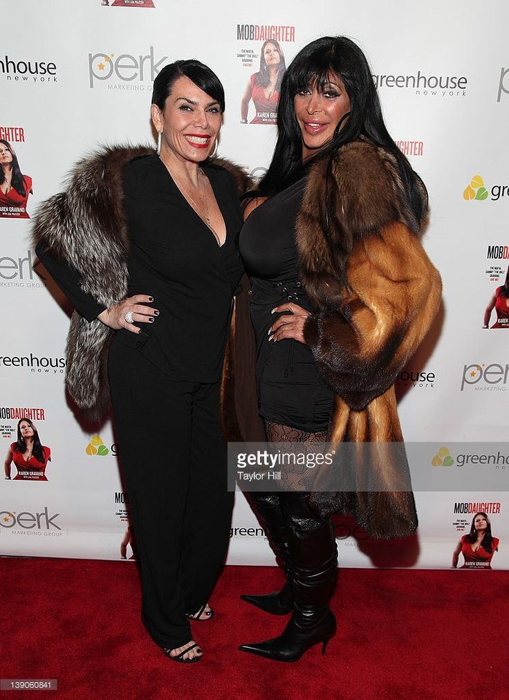 Mob wives Renee Graziano and Angelina 'Big Ang' Raiola attend Karen Gravano's 'Mob Daughter' book release party at Greenhouse on February 15, 2012 in New York City.