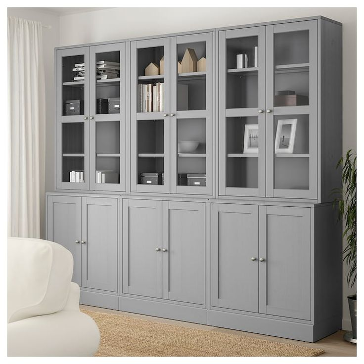 Dining Room Storage Ideas To Keep Your Scheme Clutter Free: IKEA HAVSTA Gray Storage Combination W/glass Doors In 2019