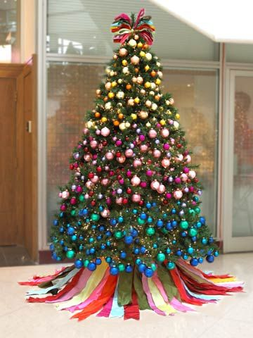 Rainbow Christmas tree- never thought of decorating the tree like this.