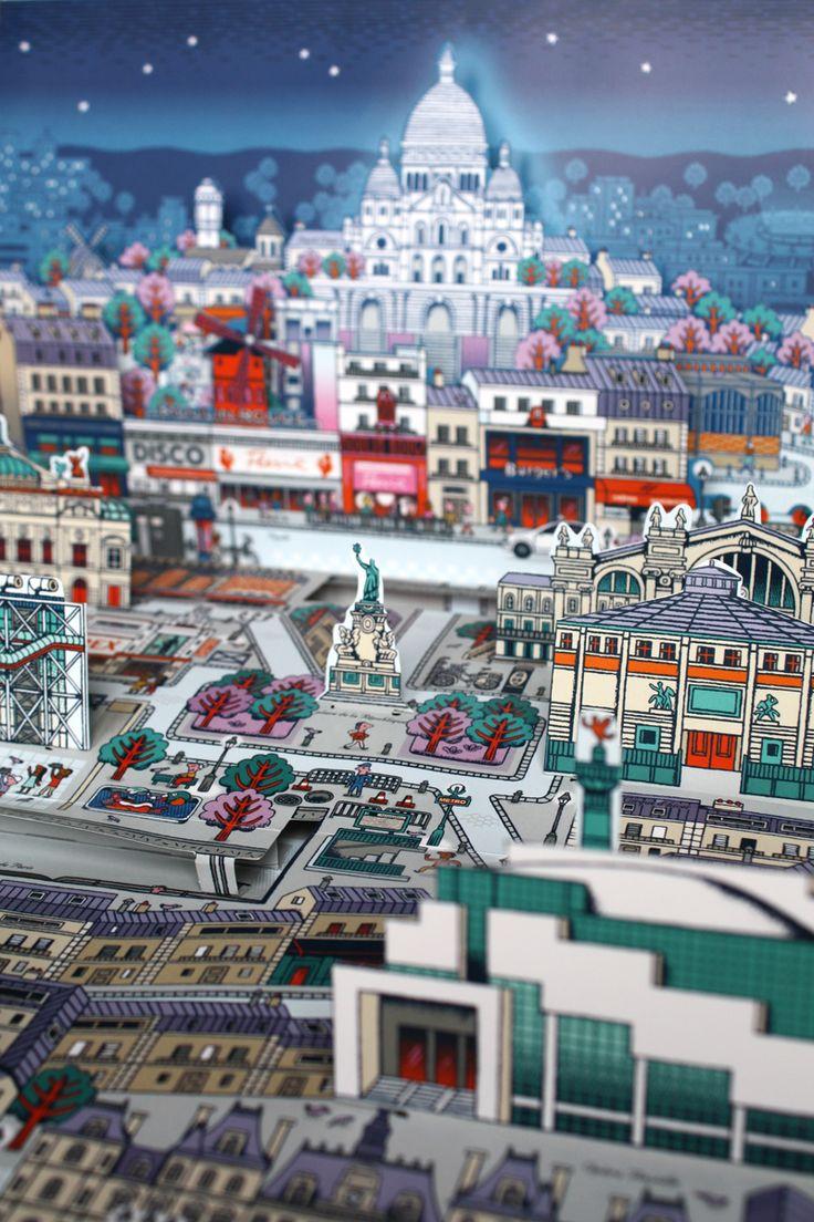 Sacre-Coeur - Pop-up Paris Map book by Sylvie Bessard PARIS / Editions Milan. 2013  http://www.sylvie-bessard.com