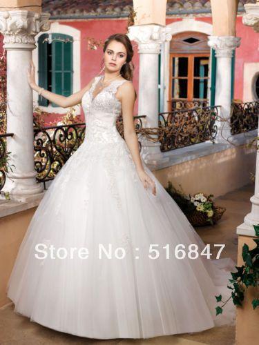 Лучшая Новая Мода Длинные Белый/Слоновая Кость Бальное платье Тюль Аппликация V-образным Вырезом Свадебные Платья Свадебные Платья Нестандартного Размера Бесплатная Доставка