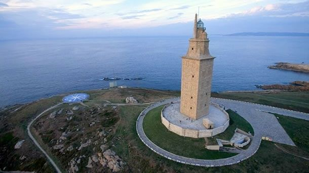 Tower of Hercules, The structure is 55 metres (180 ft) tall and overlooks the North Atlantic coast of Spain. The structure, almost 1900 years old and rehabilitated in 1791, is the oldest Roman lighthouse in use today.