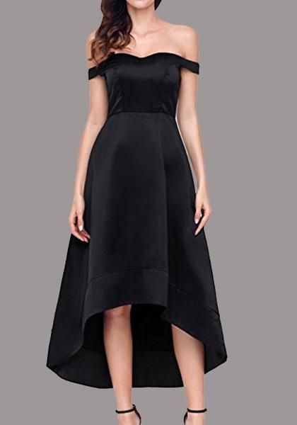 dfc2ed7da0 Black Irregular Off Shoulder Backless High-low Elegant Party Maxi Dress