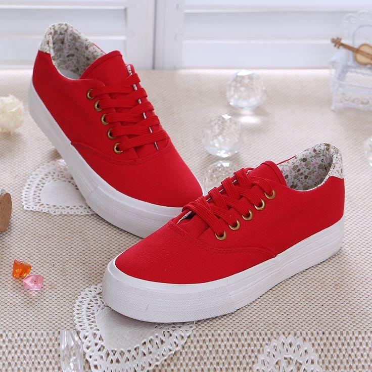 Low Canvas Lace Platform Shoes Women