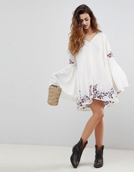 04056c730309 NWT Free People Te Amo Mini Dress L Large Embroidered Ivory  FreePeople   MiniDress