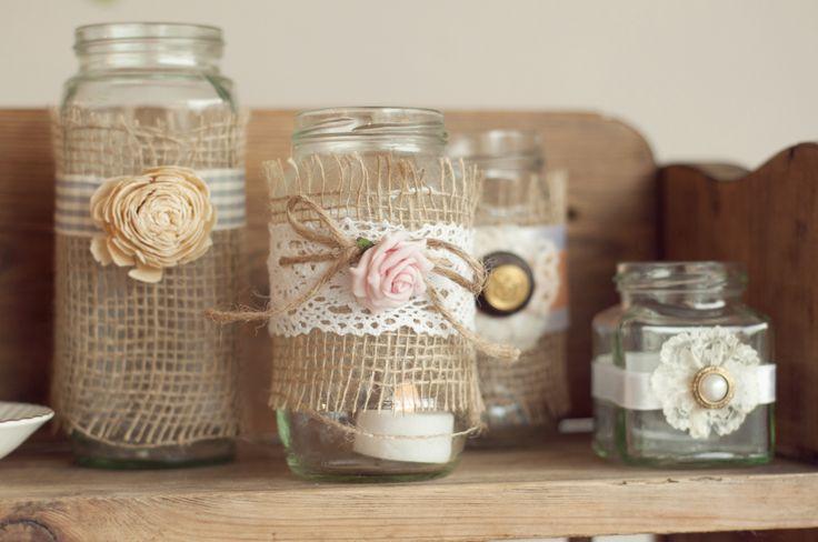 Sweet decorated jam jars custom made at Rosie Loves Vintage