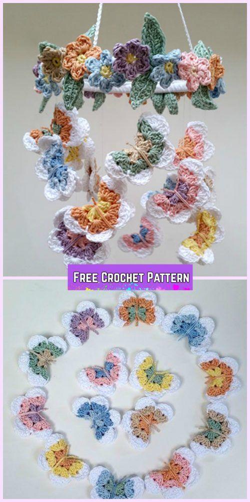 Crochet Flower& Butterfly Mobile Free Pattern