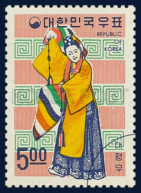 KOREA  STAMPS OF FOLKLORE, Taepyeongmu, FOLKLORE series,  Traditional Clothes, yellow, blue, white, 1967 06 15, 민속시리즈, 1967년 06월 15일,  태평무,  554, postage 우표
