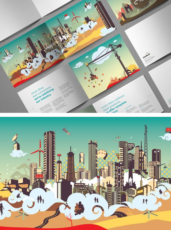 Ultra-modern illustrated brochure design...
