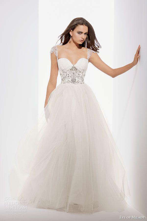eve of milady fall 2014 2015 embellished cap sleeve a line wedding dress beaded bodice style 1541