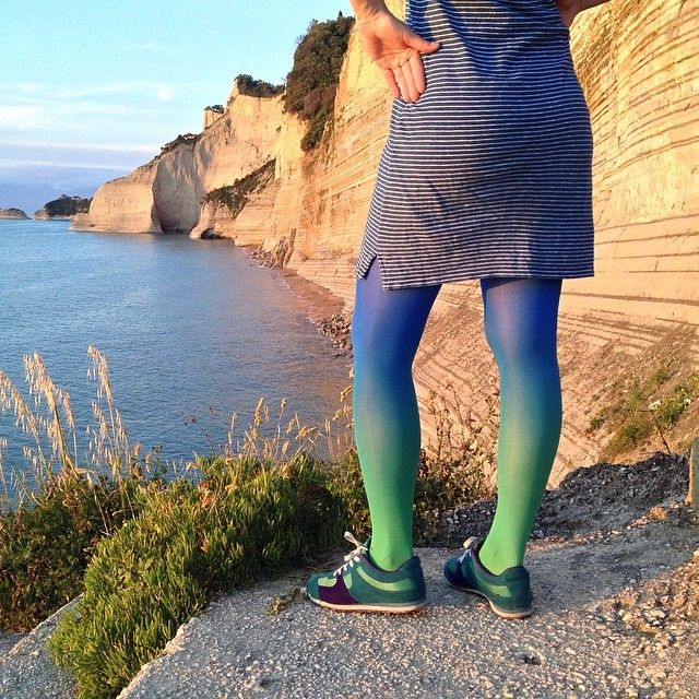 #blue #corfu #virivee #tights #ombre_tights #beachwear #coast# #see #green #greece #viri #dress #nofilter #beach #pantyhose #gradient