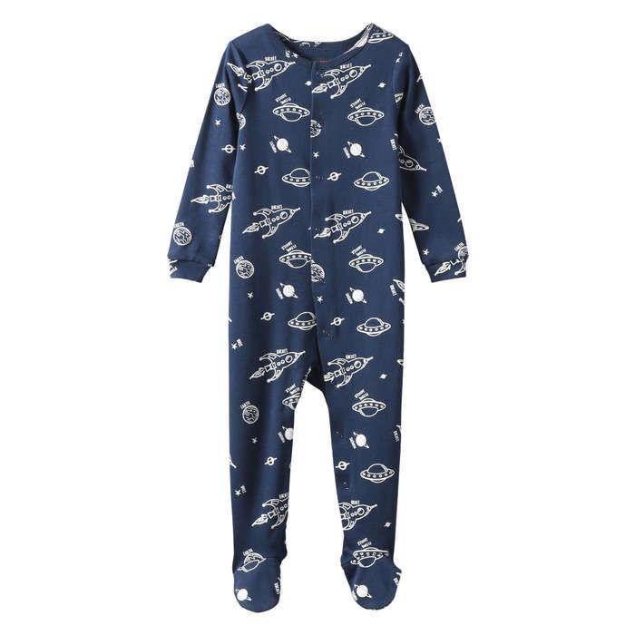 Pyjama imprimé avec protège-pieds intégrés in Marine de Joe Fresh