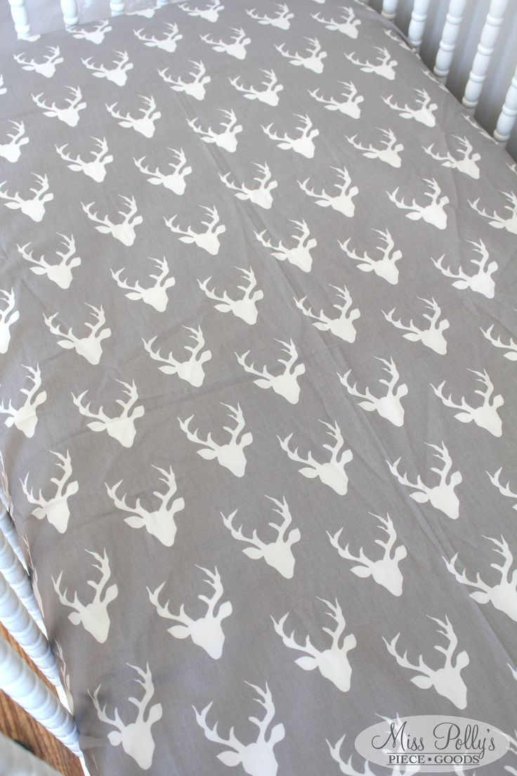 Items Similar To Crib Bedding Design Your Own Dorm Duvet Cover Hello Bear Stone Mint Gray Antlers Fox Woodland On Etsy