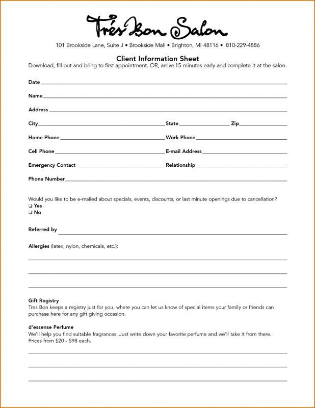 Client Information Sheet Check more at