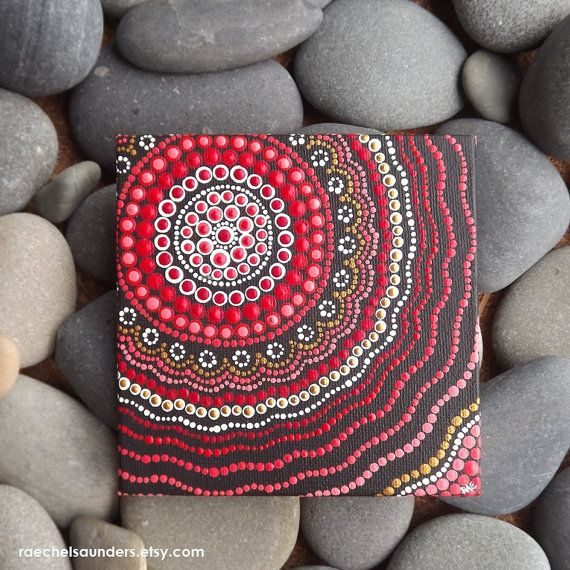 Fire Painting, Aboriginal Dot Art Painting, Acrylic paint on Canvas Board, Hand Painted Original, 10cm x 10cm, Red decor
