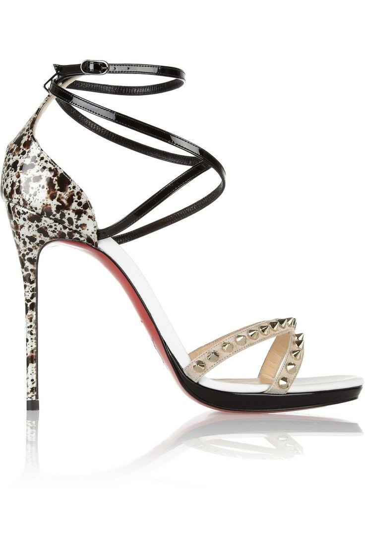 Christian Louboutin|Monocronana 120 studded patent-leather sandals|NET-A-PORTER.COM