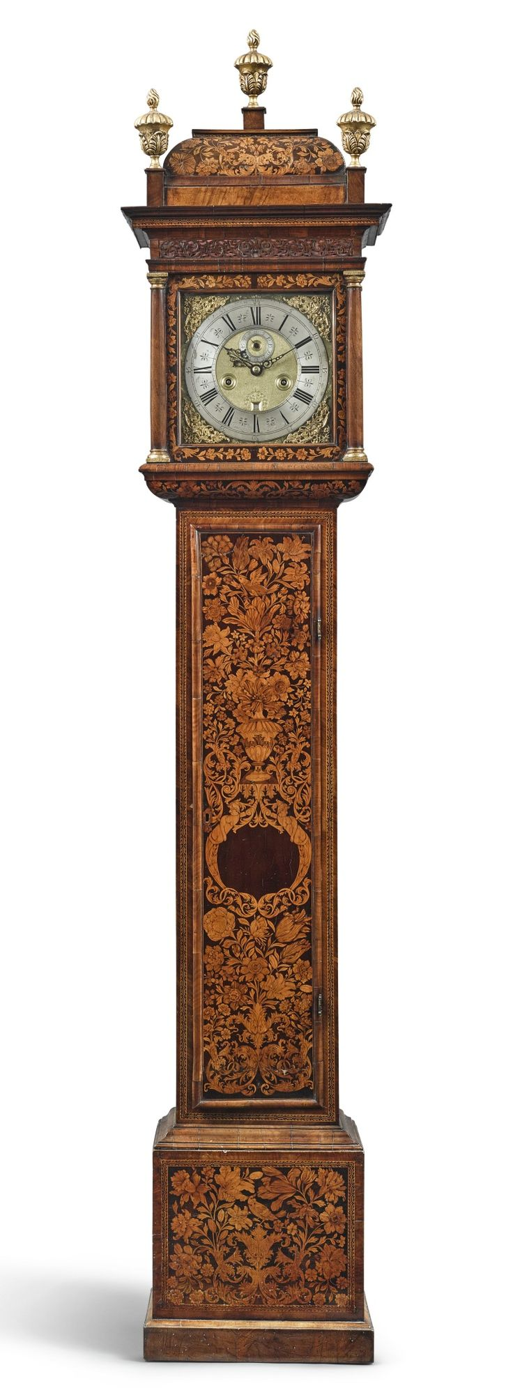 A William and Mary walnut and fruitwood marquetry longcase clock, circa 1690, dial signed Isaac Lowndes in ye Pall Mall