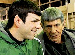 Zachary Quinto & Leonard Nimoy  This makes me sooooo happy!